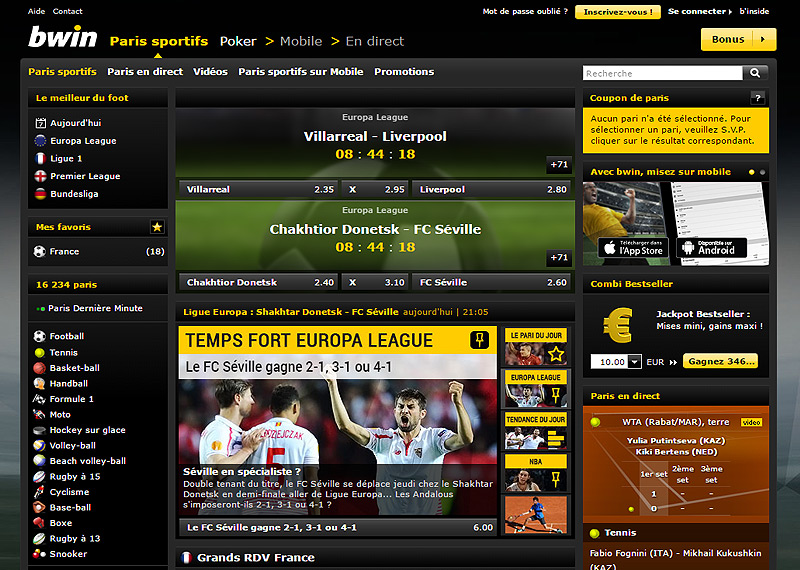 Page d'accueil du bookmaker BWIN