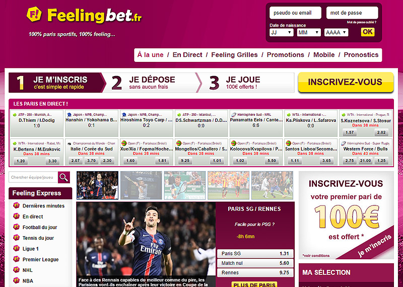 Page d'accueil du bookmaker Feeling Bet