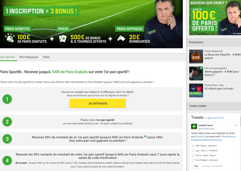 Page d'inscription UNIBET