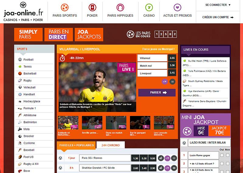Page d'accueil du bookmaker JOA Online