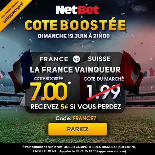 Parier sur le match de Football EURO 2016 France /  Suisse