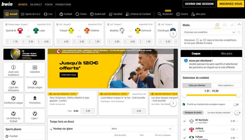 Page d'accueil du site de paris sportifs Bwin