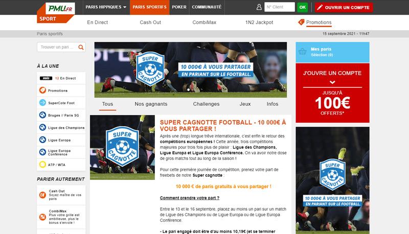 Promotion et bonus PMU Sport