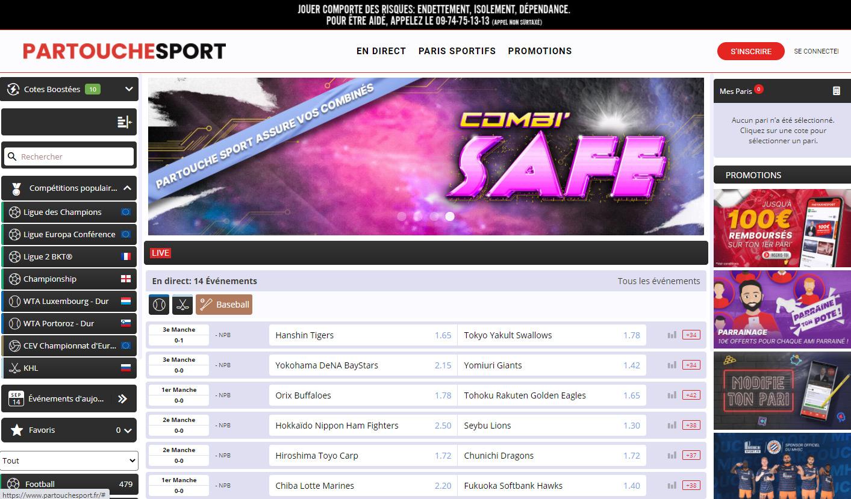 Site de paris sportifs en ligne français Partouche Sport